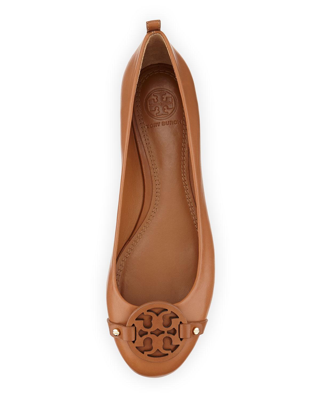e2ba0c707e8642 Lyst - Tory Burch Mini Miller Leather Logo Flat in Brown