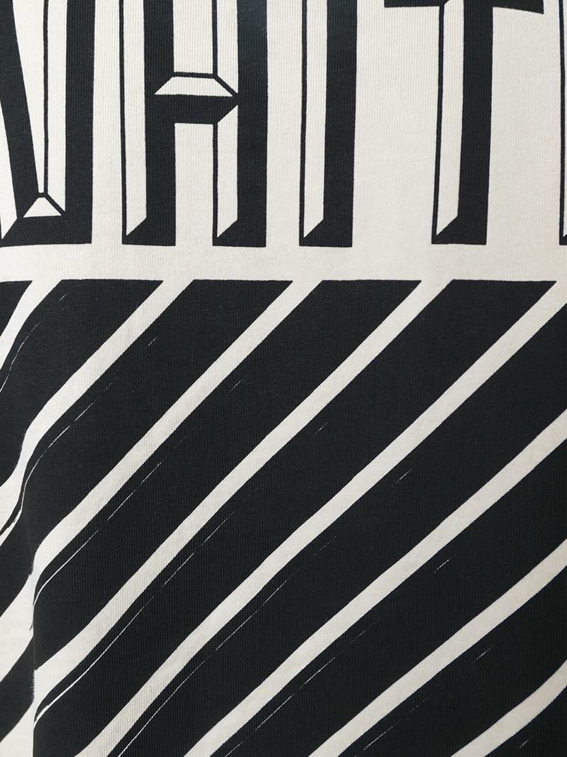 lyst off white c o virgil abloh striped logo print sweatshirt in blue. Black Bedroom Furniture Sets. Home Design Ideas