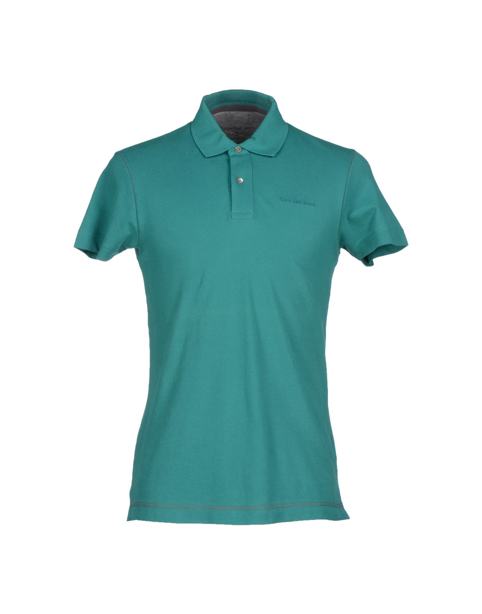 Calvin klein jeans polo shirt in teal for men green lyst for Mens teal polo shirt