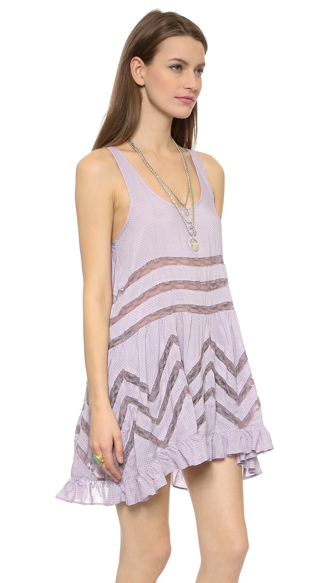 701981792ae0 Free People Tiny Dot Trapeze Mini Dress - Mango Combo in Purple - Lyst