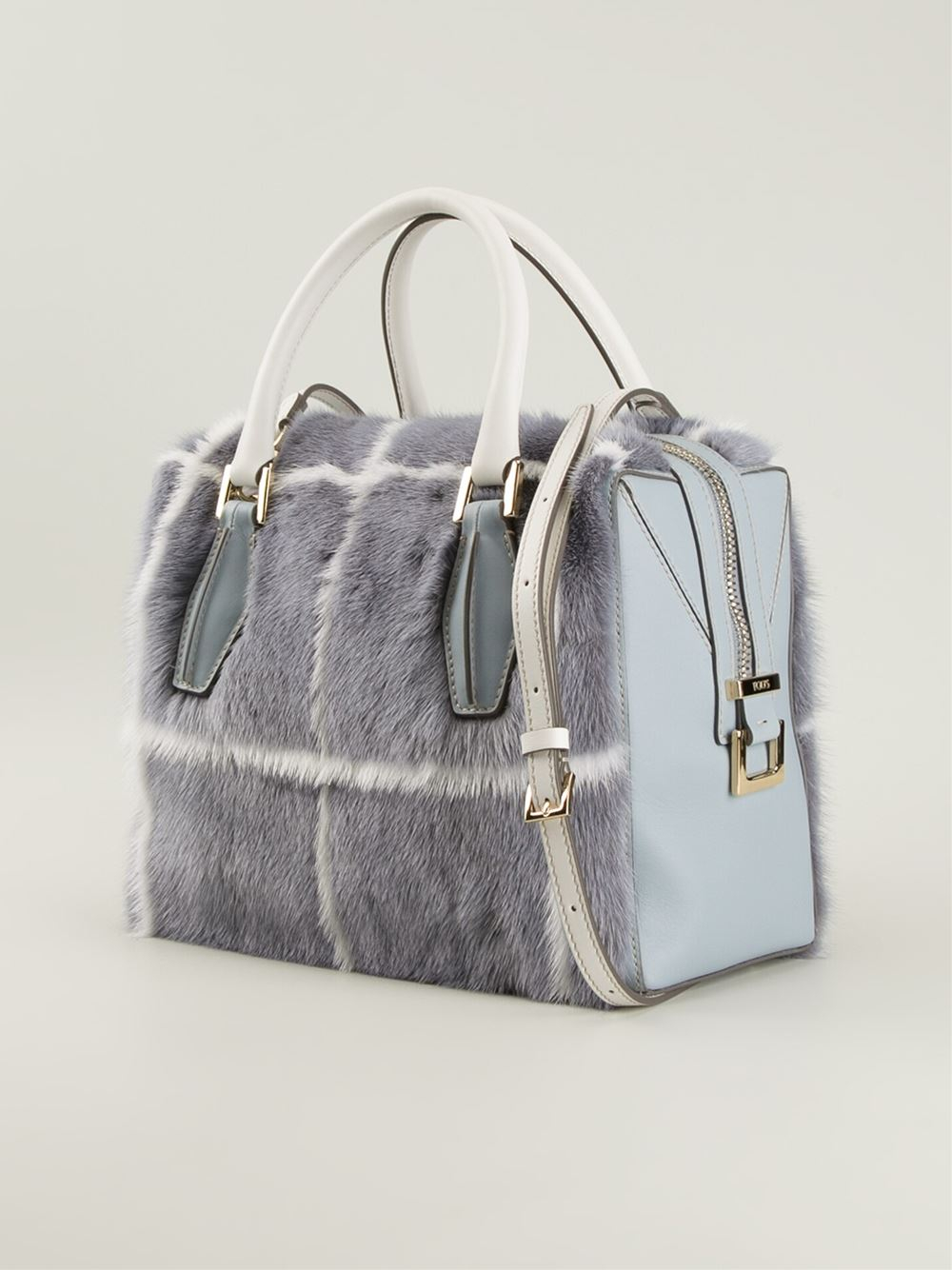 tod 39 s d cube mink fur mini bowler bag in blue lyst. Black Bedroom Furniture Sets. Home Design Ideas