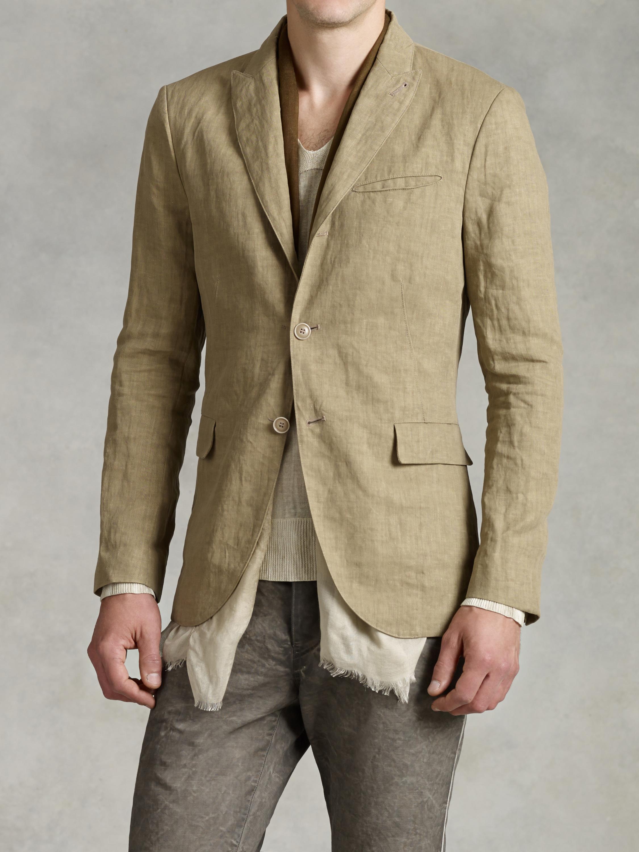 John varvatos 2-Button Convertible Peak Linen Jacket in Brown for ...
