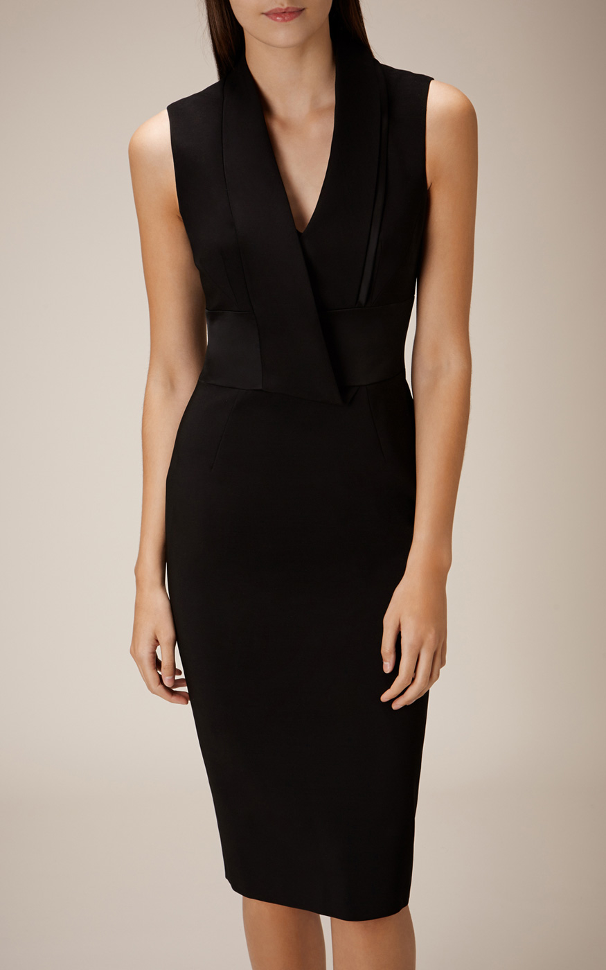 Karen Millen Tuxedo Pencil Dress In Black Lyst