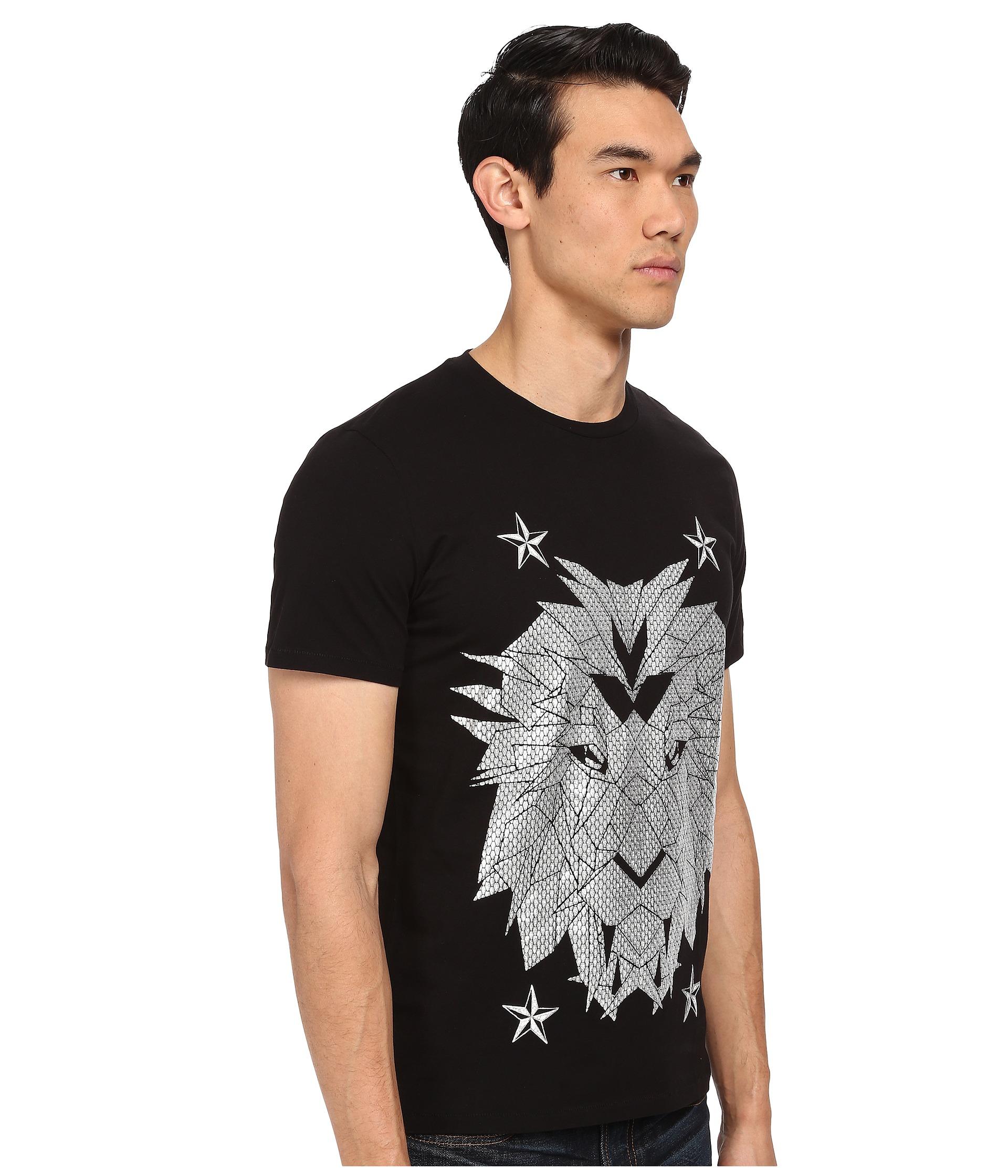 Just cavalli digital lion print t shirt in black lyst for Vista print tee shirt