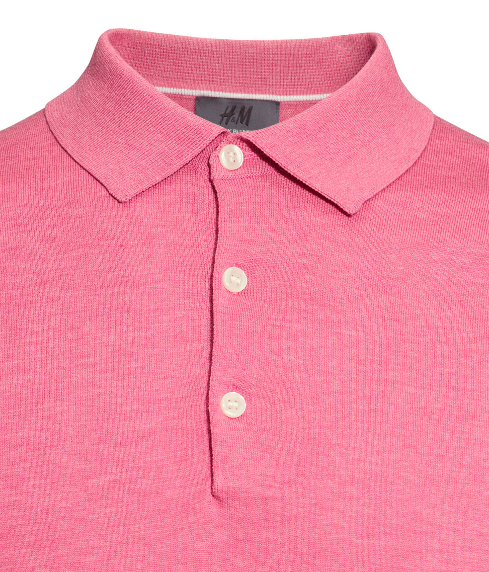 Lyst h m polo shirt in a silk blend in pink for men for H m polo shirt mens