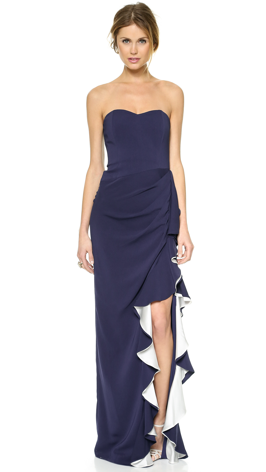 Lyst - Badgley Mischka Ruffle Slit Strapless Gown ...
