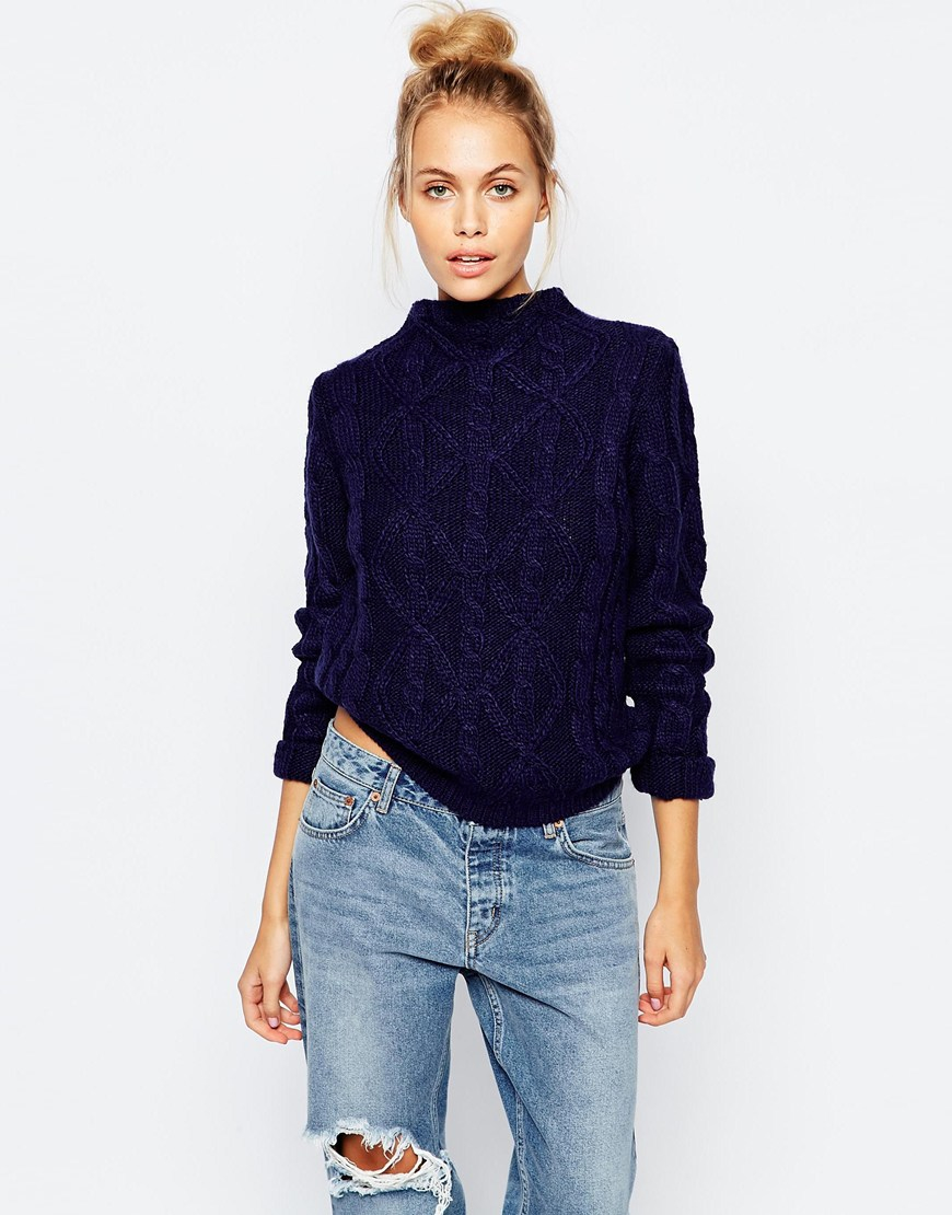 Fashion union Cable Knit Roll Neck Crop Jumper in Blue | Lyst