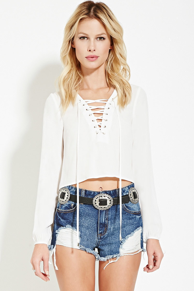 21 Best Images About Cute Boys On Pinterest: Forever 21 Lace-up Top In Natural