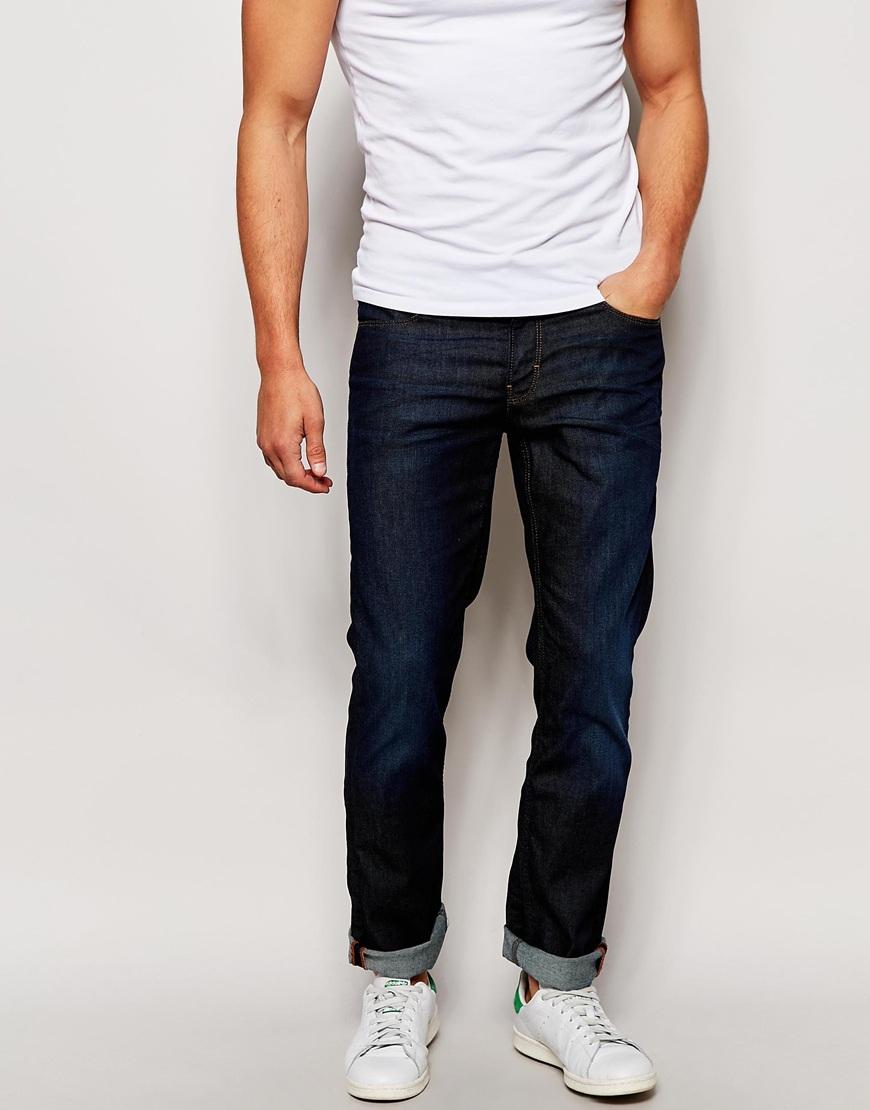 boss orange slim jeans in dark wash in blue for men lyst. Black Bedroom Furniture Sets. Home Design Ideas