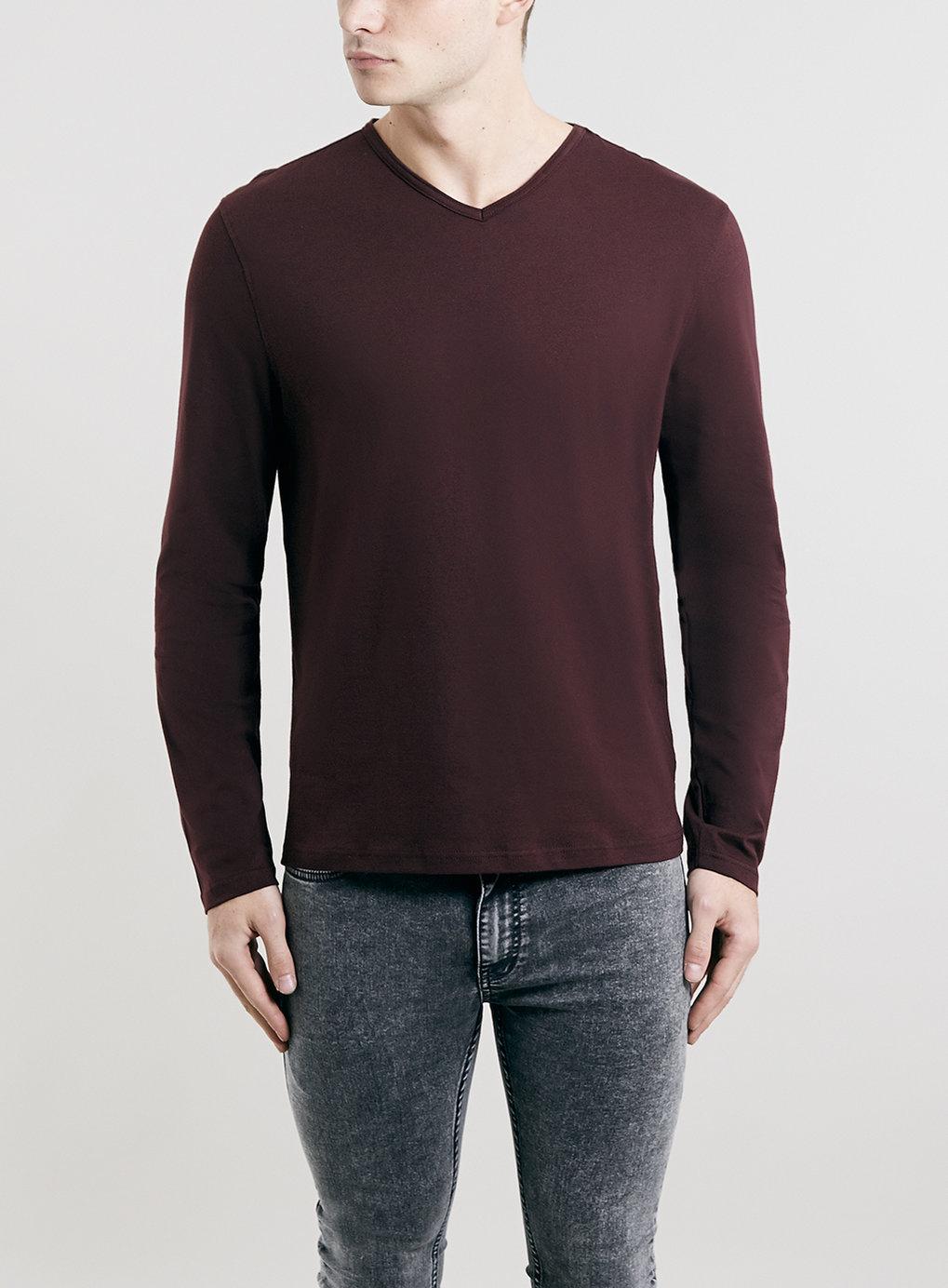 Topman burgundy v neck long sleeve t shirt in red for men for Burgundy long sleeve t shirt womens