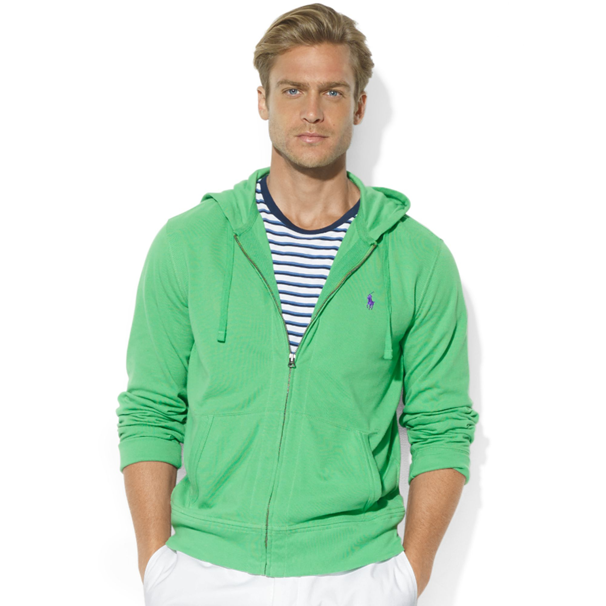 Ralph lauren Zipfront Mesh Hoodie in Green for Men (Tiller Green) | Lyst