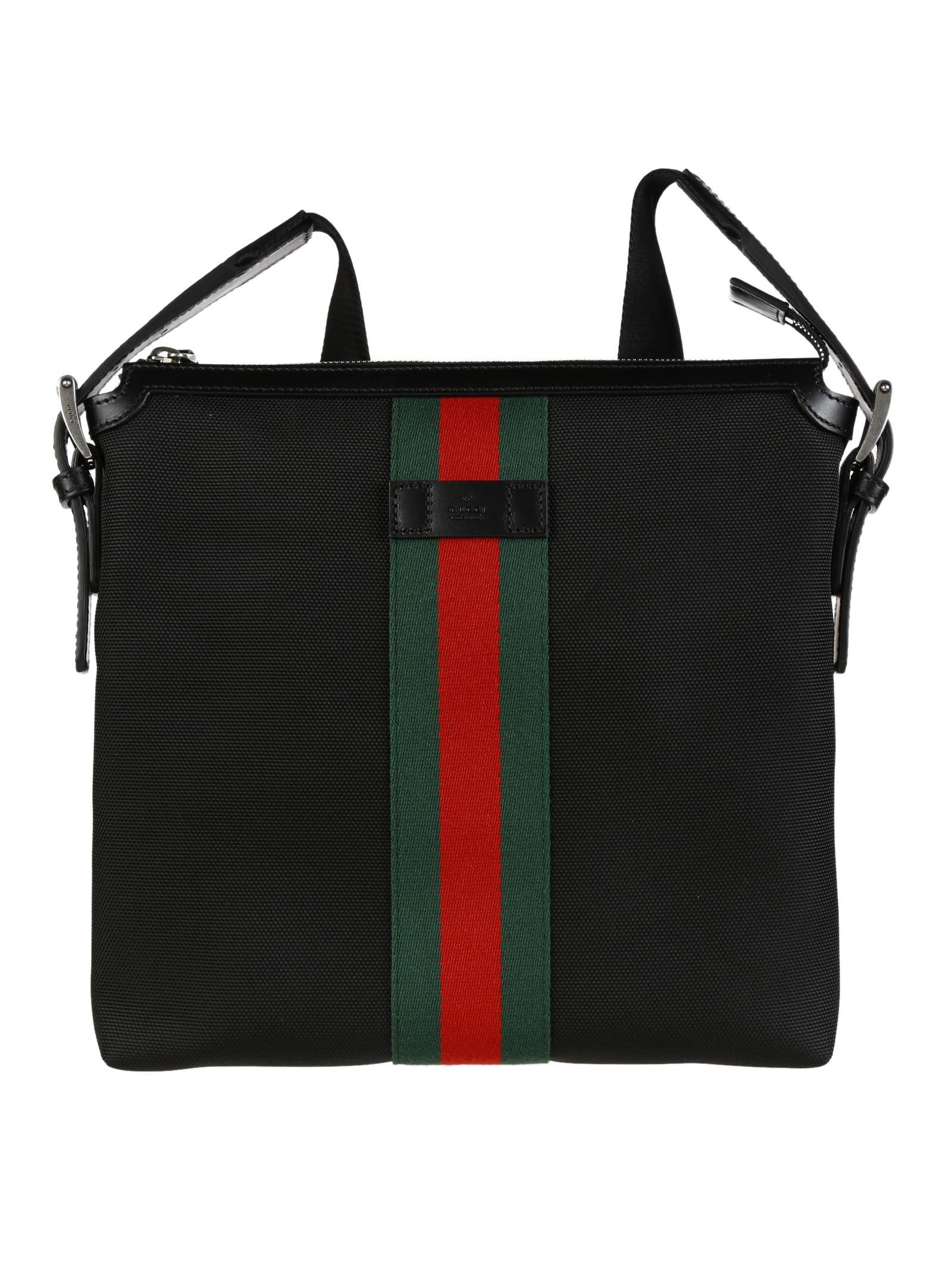 gucci web band canvas small messenger bag in black for men lyst. Black Bedroom Furniture Sets. Home Design Ideas