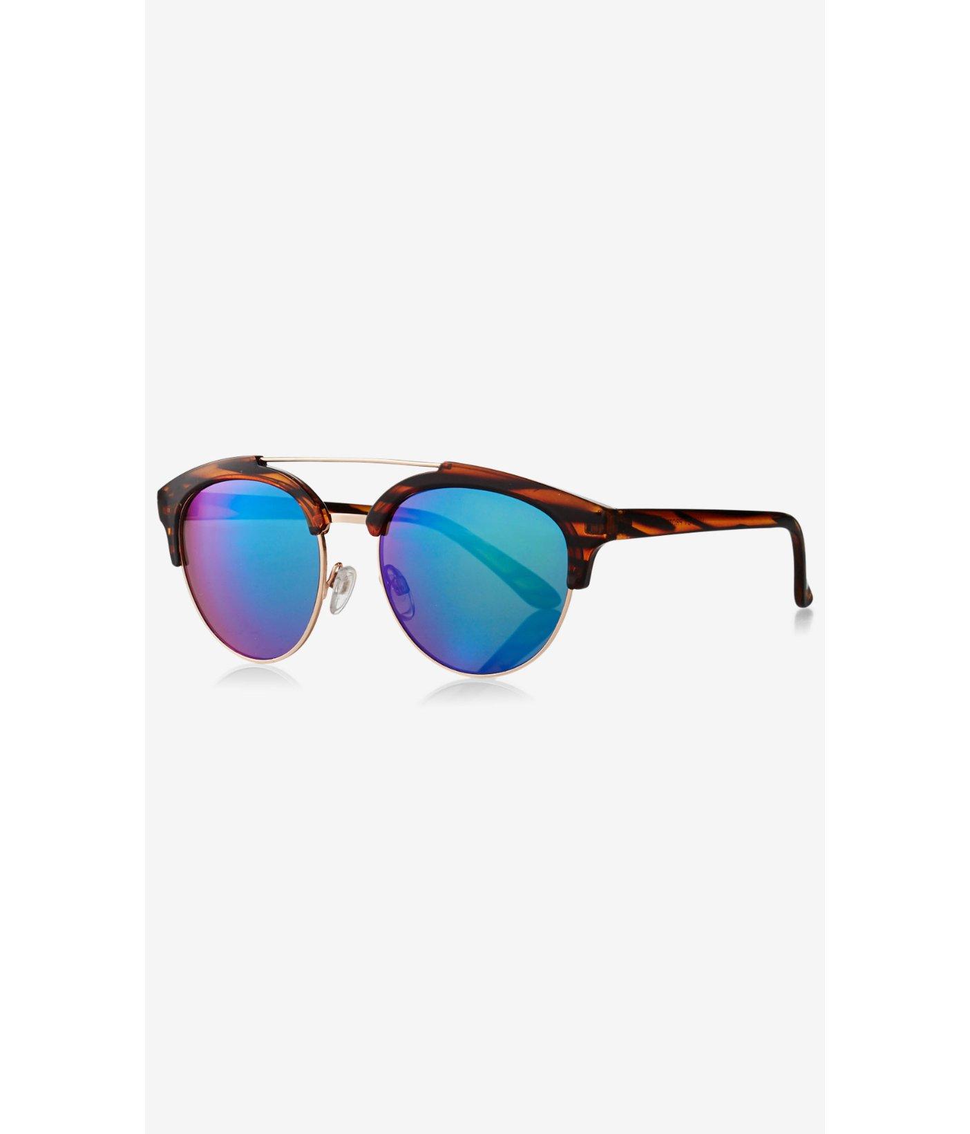 Brow Bar Sunglasses  express retro brow bar sunglasses in blue lyst