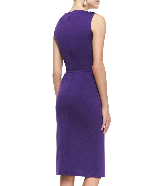 Lyst - Oscar De La Renta Asymmetric Peplum Sheath Dress in Purple