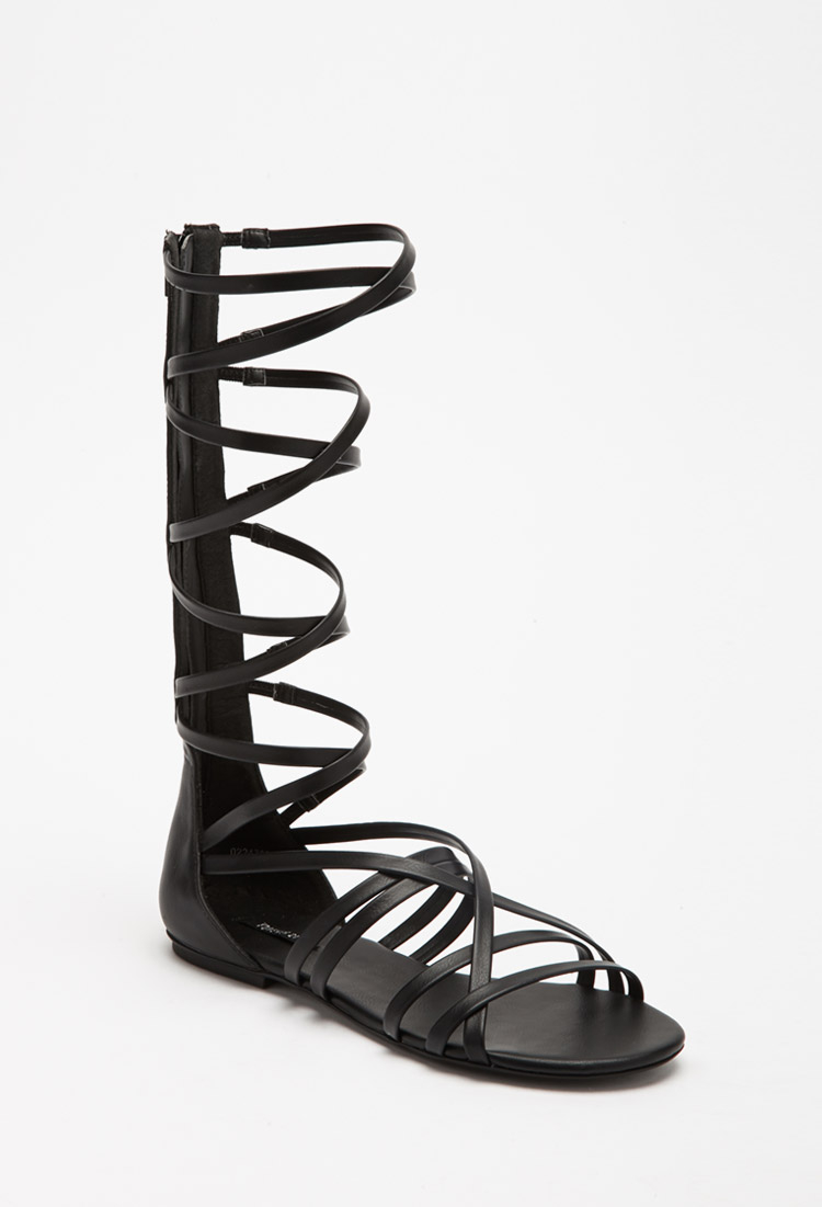 f1079e1c559d Lyst - Forever 21 Strappy Mid-calf Gladiator Sandals in Black
