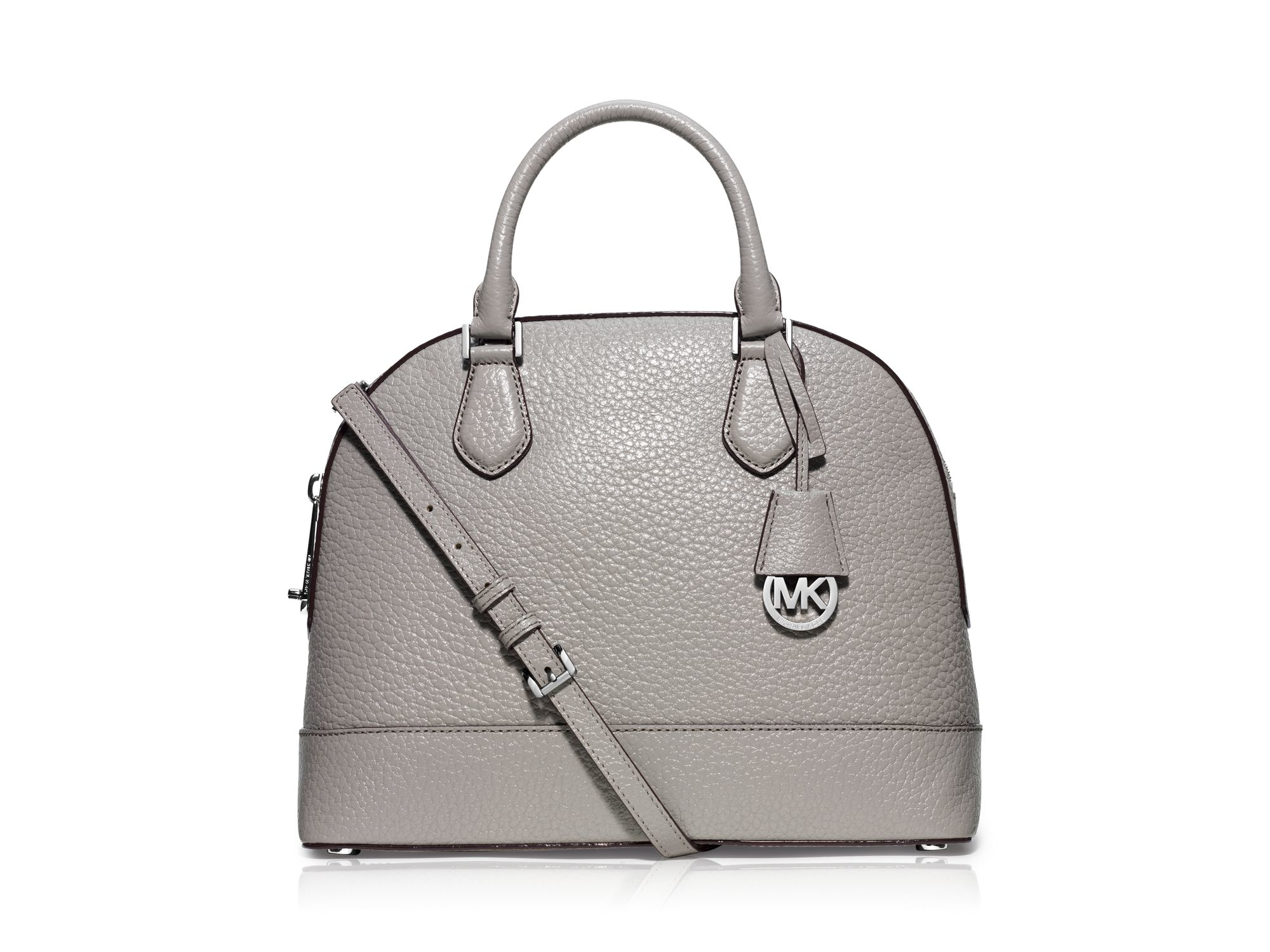 47a0acb87eec ... low price lyst michael michael kors satchel smythe large dome in gray  9e15d d9c87