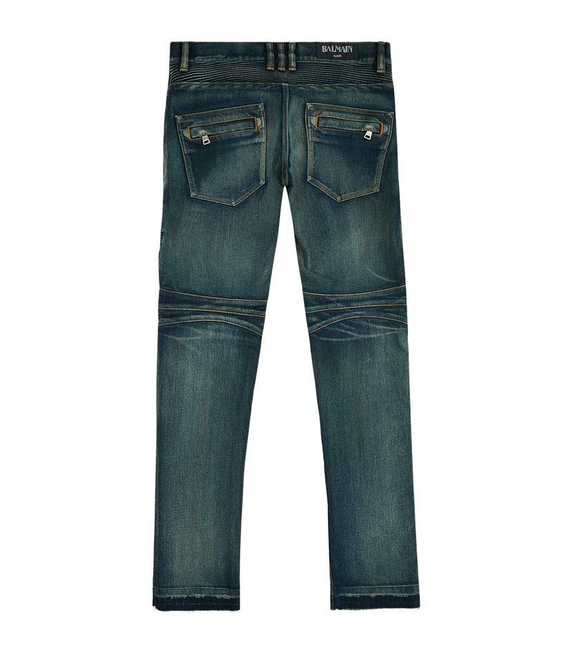 balmain regular fit biker jeans in blue for men lyst. Black Bedroom Furniture Sets. Home Design Ideas