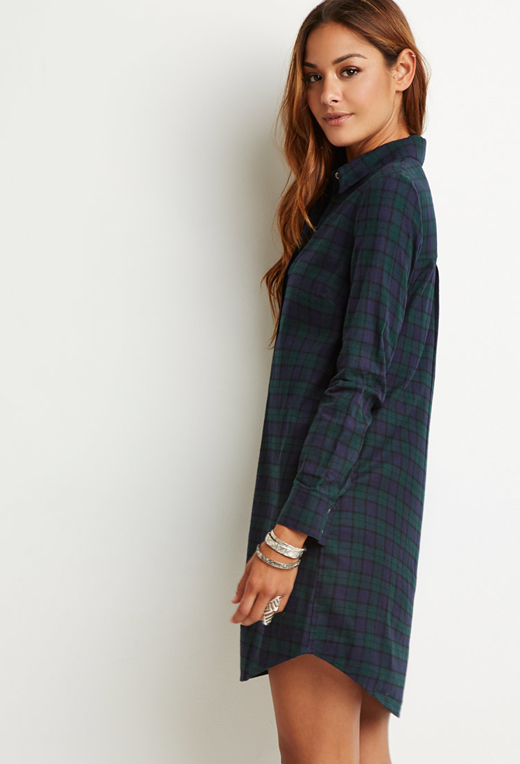 93b1f9a8d44 Lyst - Forever 21 Flannel Plaid Shirt Dress in Blue