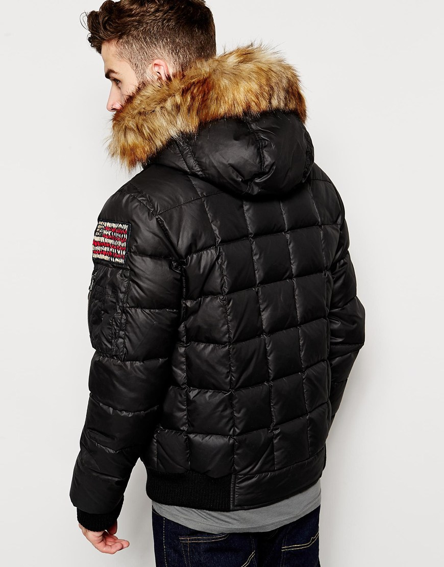 true religion quilted jacket with faux fur hood in black. Black Bedroom Furniture Sets. Home Design Ideas