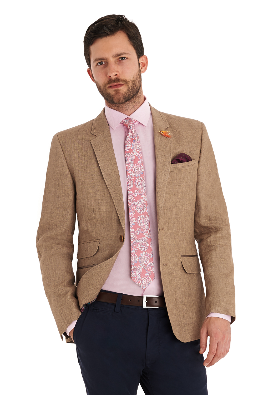 Ted baker Tailored Fit Beige Linen Jacket in Natural for Men | Lyst