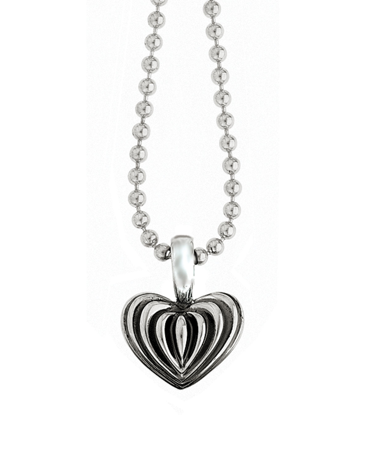 Lagos fluted heart pendant necklace in metallic lyst gallery mozeypictures Images