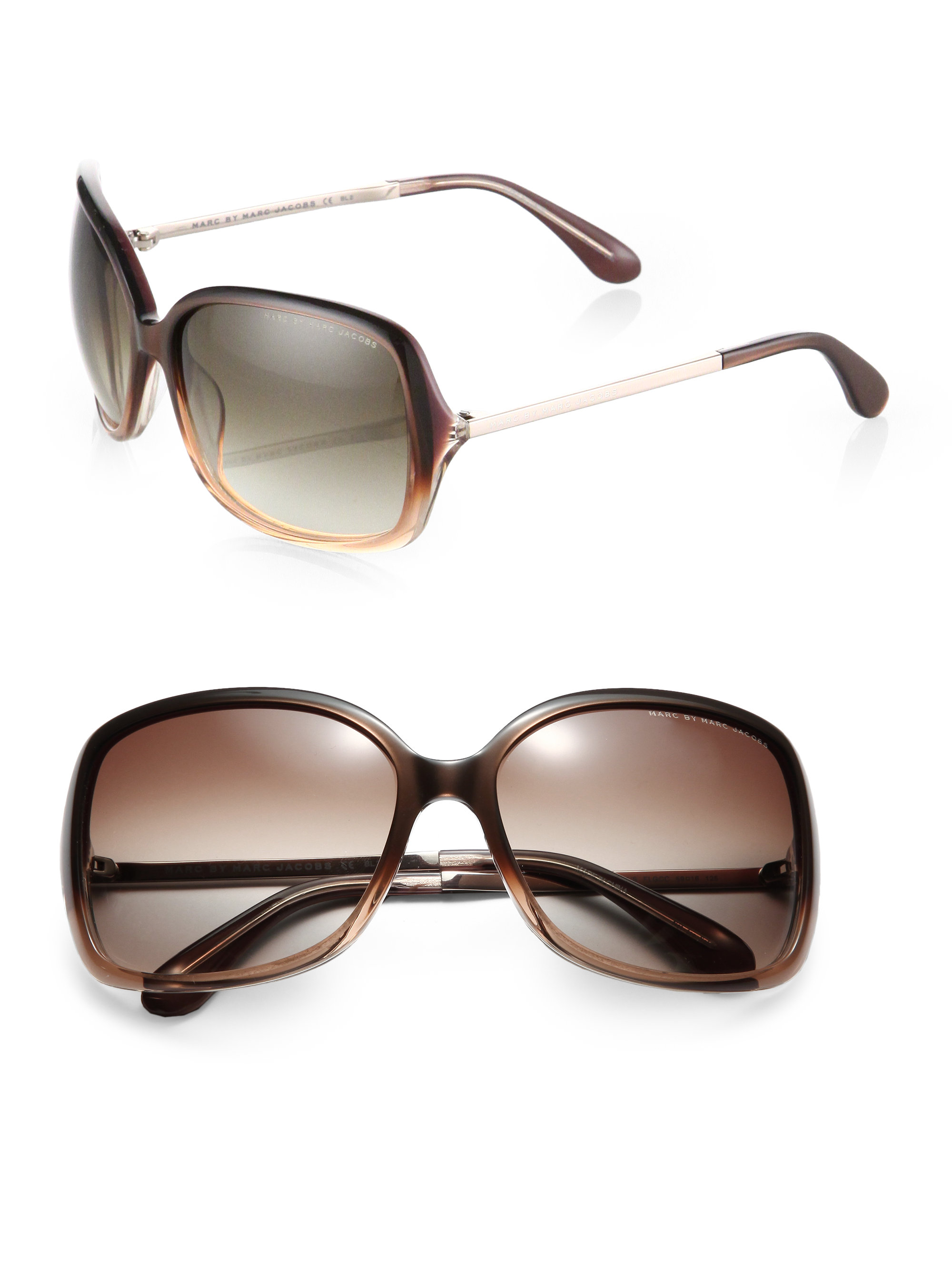 a3d21ff29ab96 Marc By Marc Jacobs Oversized Square Plastic Sunglasses in Brown - Lyst