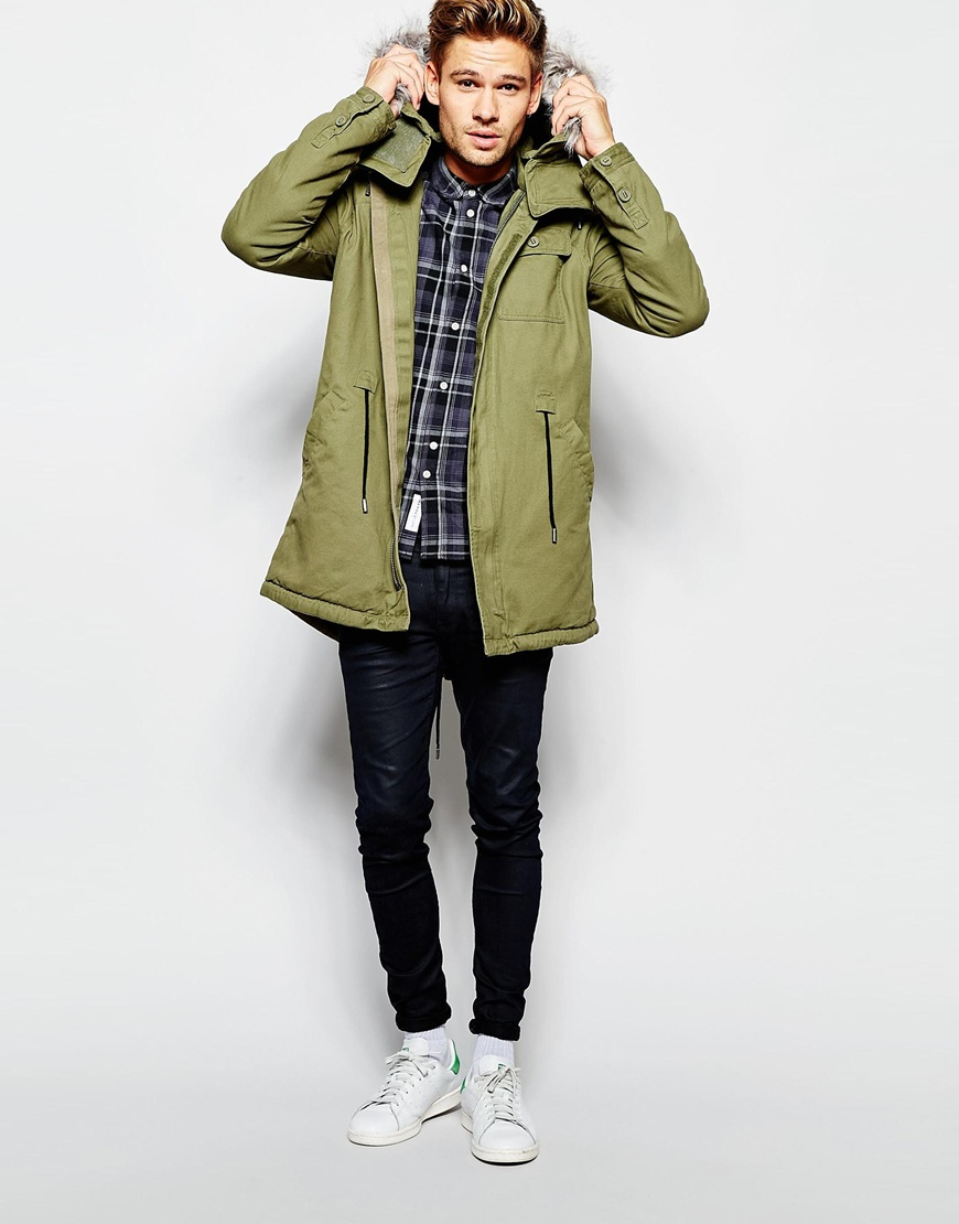 a57bbb17c Lyst - Native Youth Parka With Faux Fur Hood in Green for Men