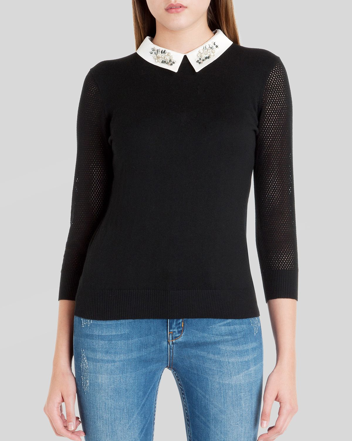5a52be4360a Ted Baker Sweater - Helane Embellished Collar in Black - Lyst
