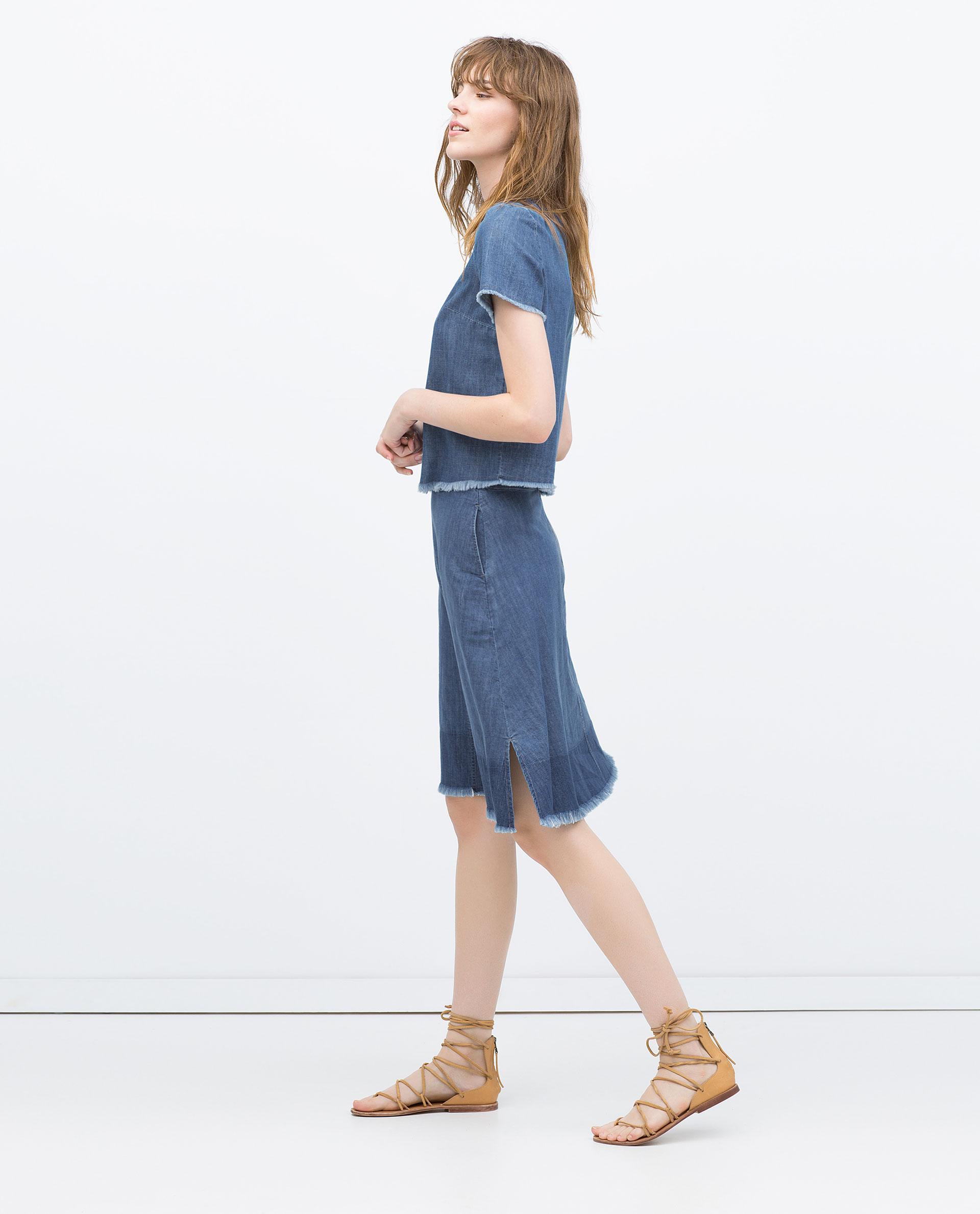 zara mid length frayed denim skirt in blue lyst