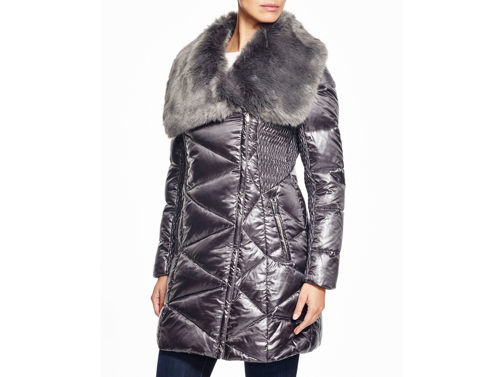 Via Spiga Faux Fur Trim Puffer Coat In Metallic Lyst