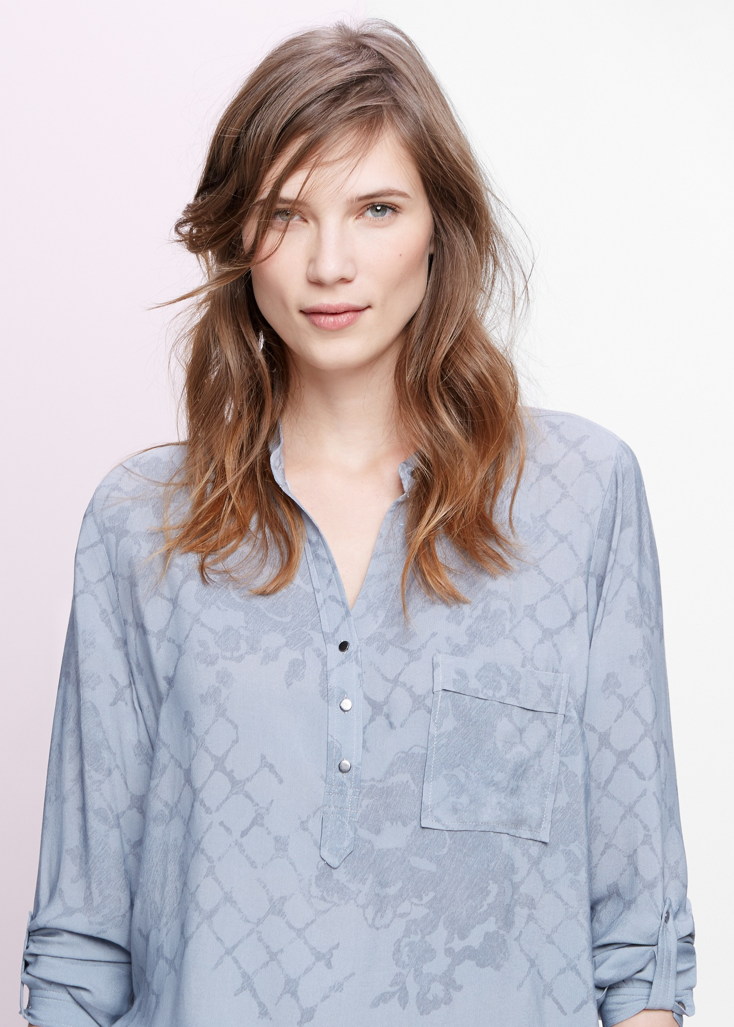 MANGO Pocket printed blouse Grey Outlet Store Online Wide Range Of For Sale Quality Free Shipping For Sale BNyiu