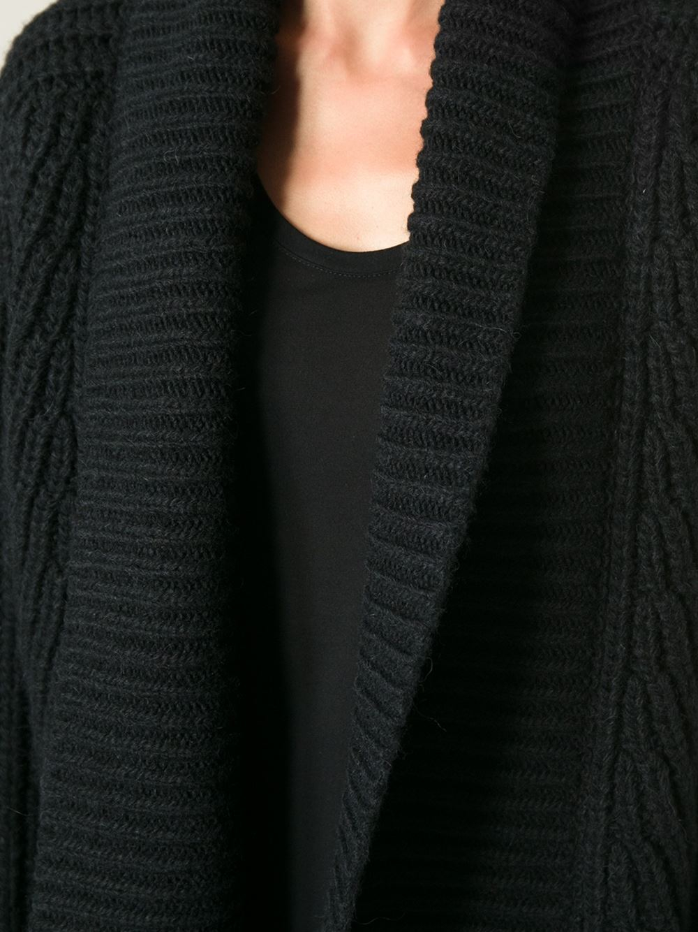 Ann demeulemeester Cable Knit Open Front Cardigan in Black | Lyst
