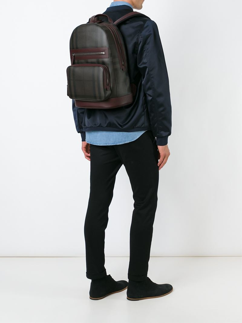 Burberry 'nova' Check Print Backpack in Black for Men | Lyst