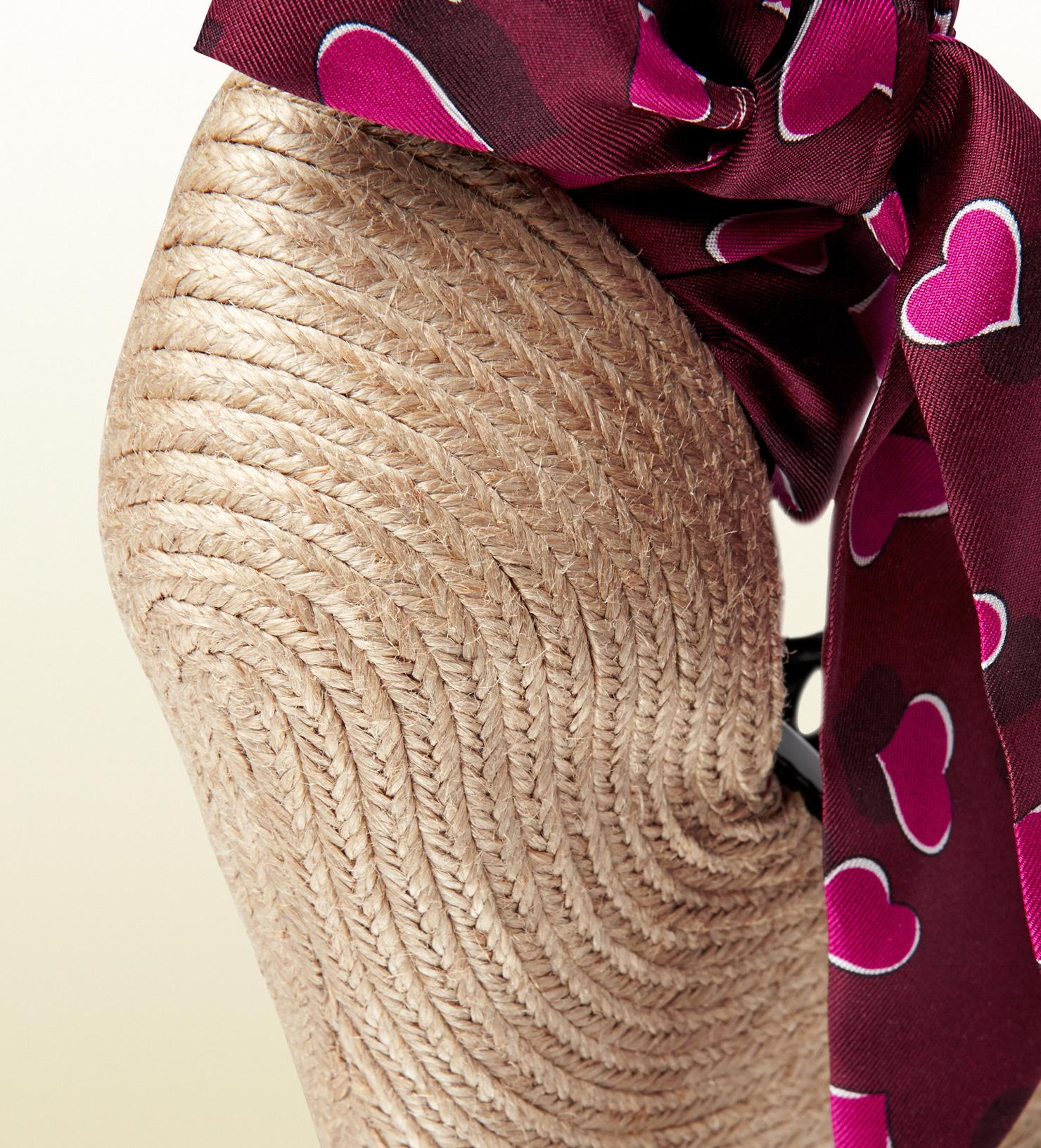 Lyst Gucci Carolina Heartbeat Satin Tie Wedge Sandal In