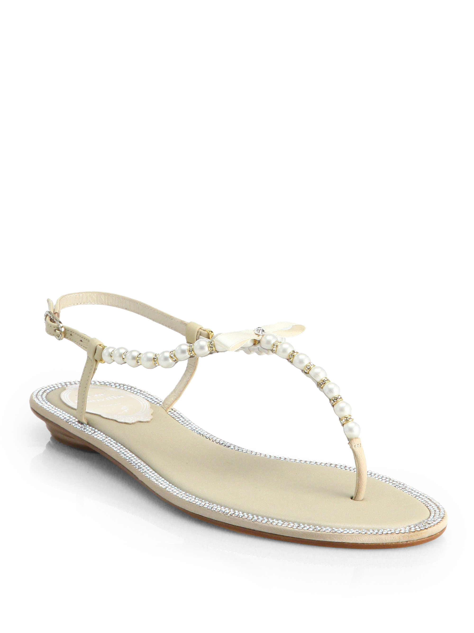 Lyst - Rene Caovilla Crystal   Faux Pearl Leather Sandals in Natural