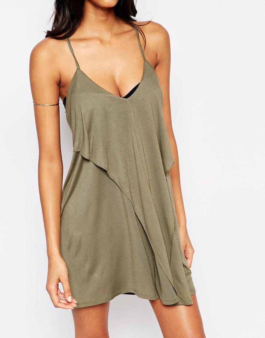 2e7d42b889 ASOS Layered Drape Jersey Beach Dress in Green - Lyst
