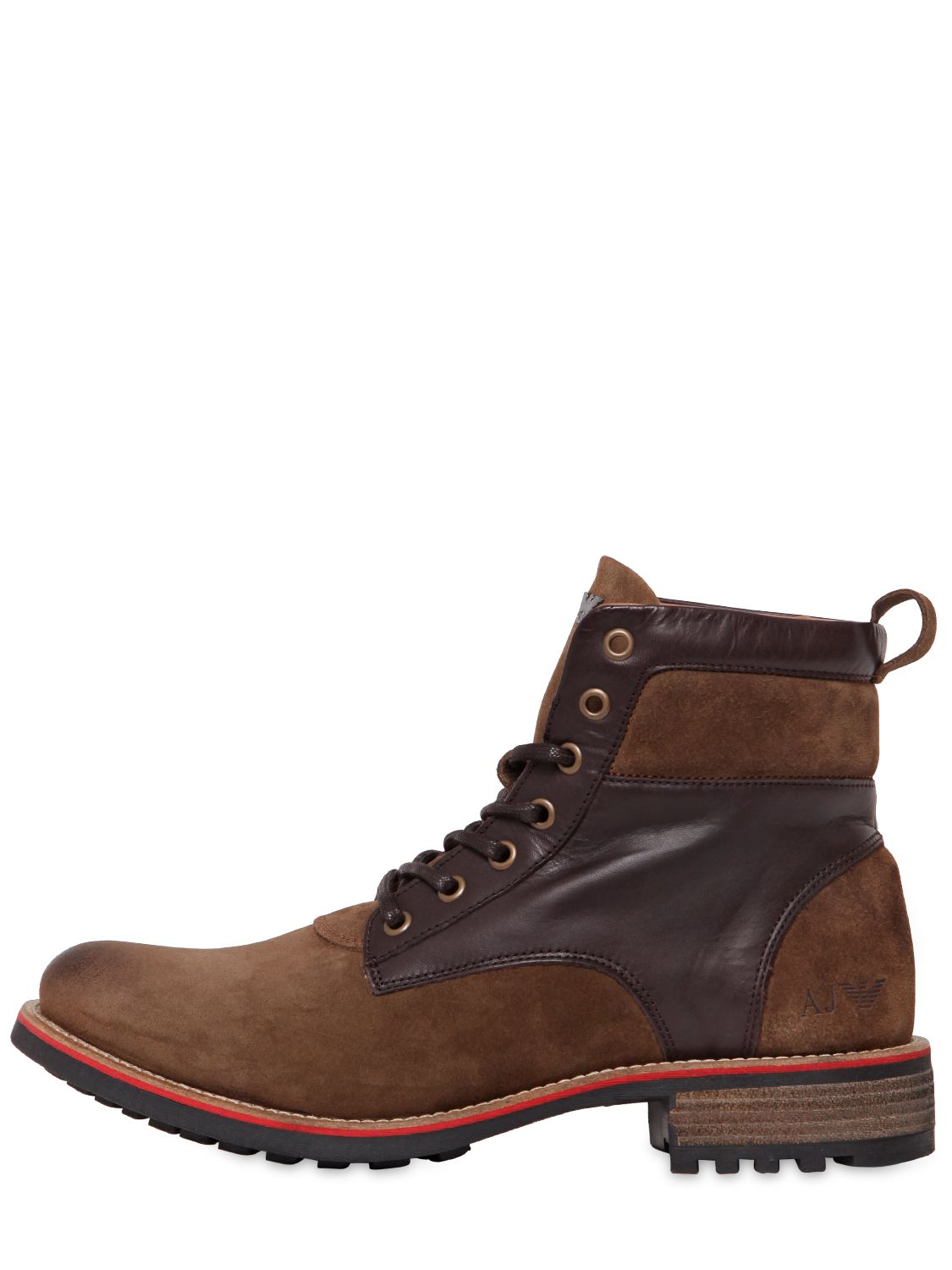 Lyst Armani Jeans Suede Amp Leather Lace Up Boots In Brown