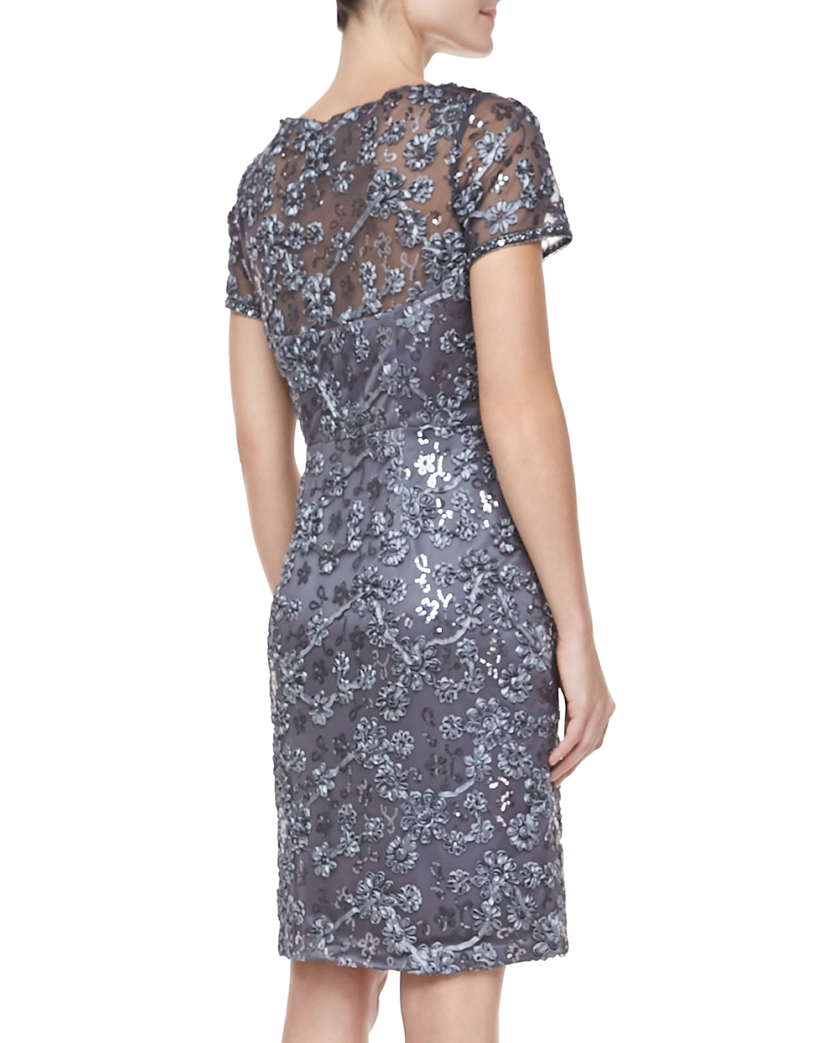fc6103064b7 Sue Wong Short Sleeve Embroidered Sheath Cocktail Dress Charcoal in ...
