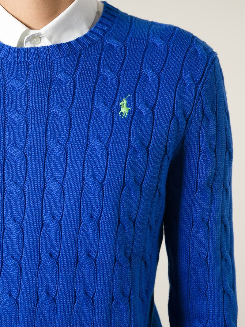 Polo ralph lauren Cable Knit Sweater in Blue for Men | Lyst