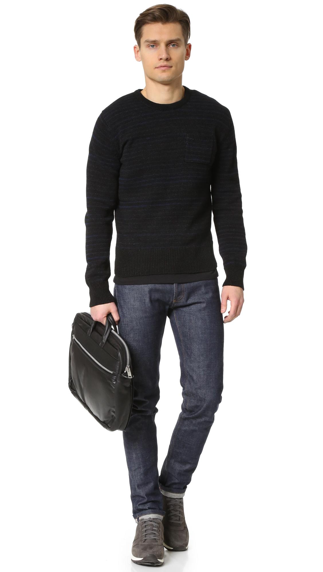 Porter tanker leather briefcase in black for men lyst for Men a porter