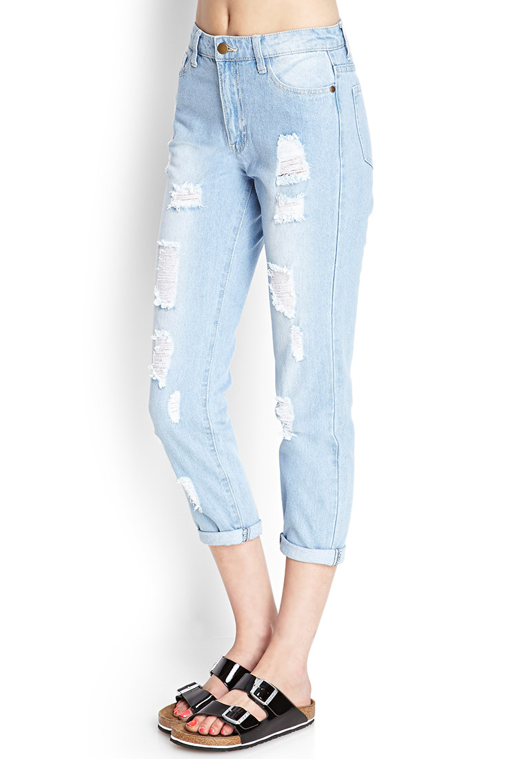 lyst forever 21 ripped boyfriend jeans in blue. Black Bedroom Furniture Sets. Home Design Ideas