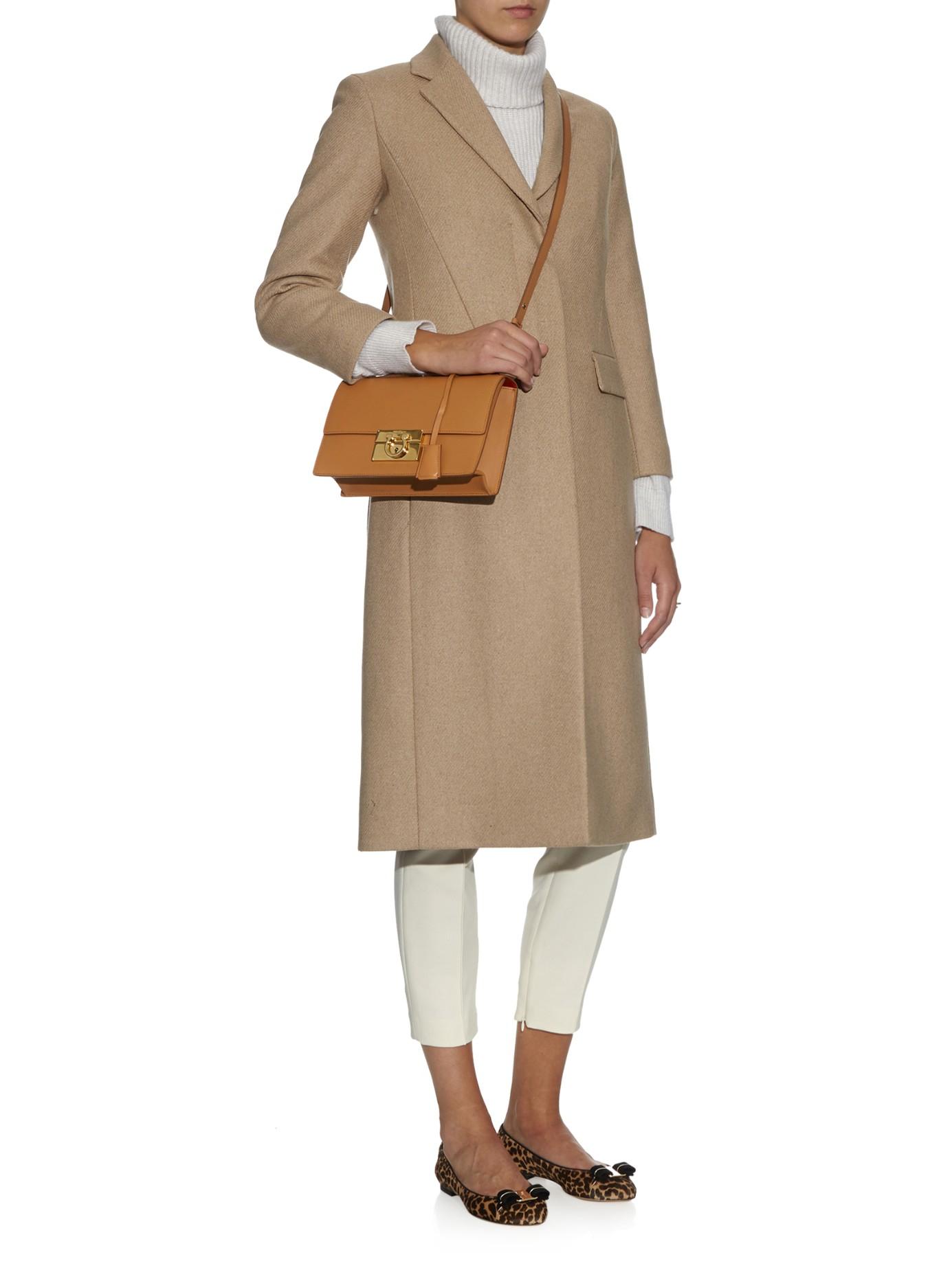 Lyst - Ferragamo Aileen Medium Leather Cross-Body Bag in Brown 95563558b94e1