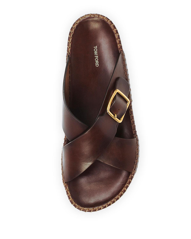 lyst tom ford edie crisscross leather sandal in brown. Black Bedroom Furniture Sets. Home Design Ideas