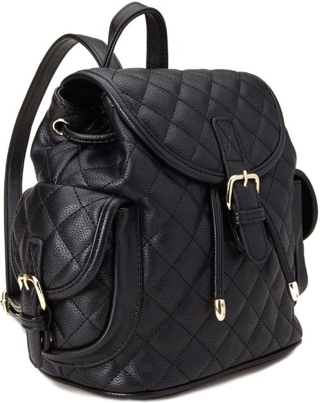 Forever 21 Quilted Faux Leather Backpack in Black