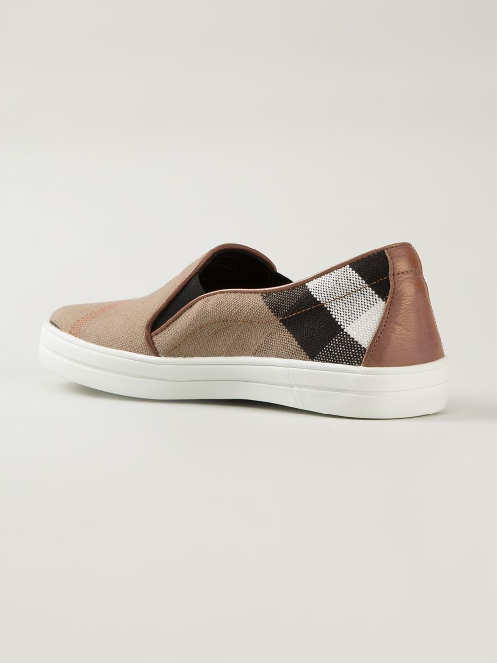 To Buy Buy House Check and Leather Slip-on Sneakers - Brown Burberry 2018 Very Cheap j3VuzF