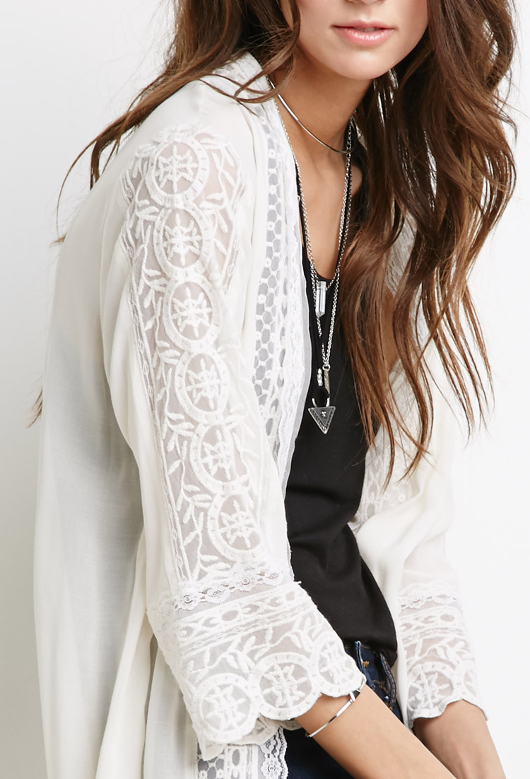 Forever 21 Sheer Lace-paneled Kimono in White | Lyst