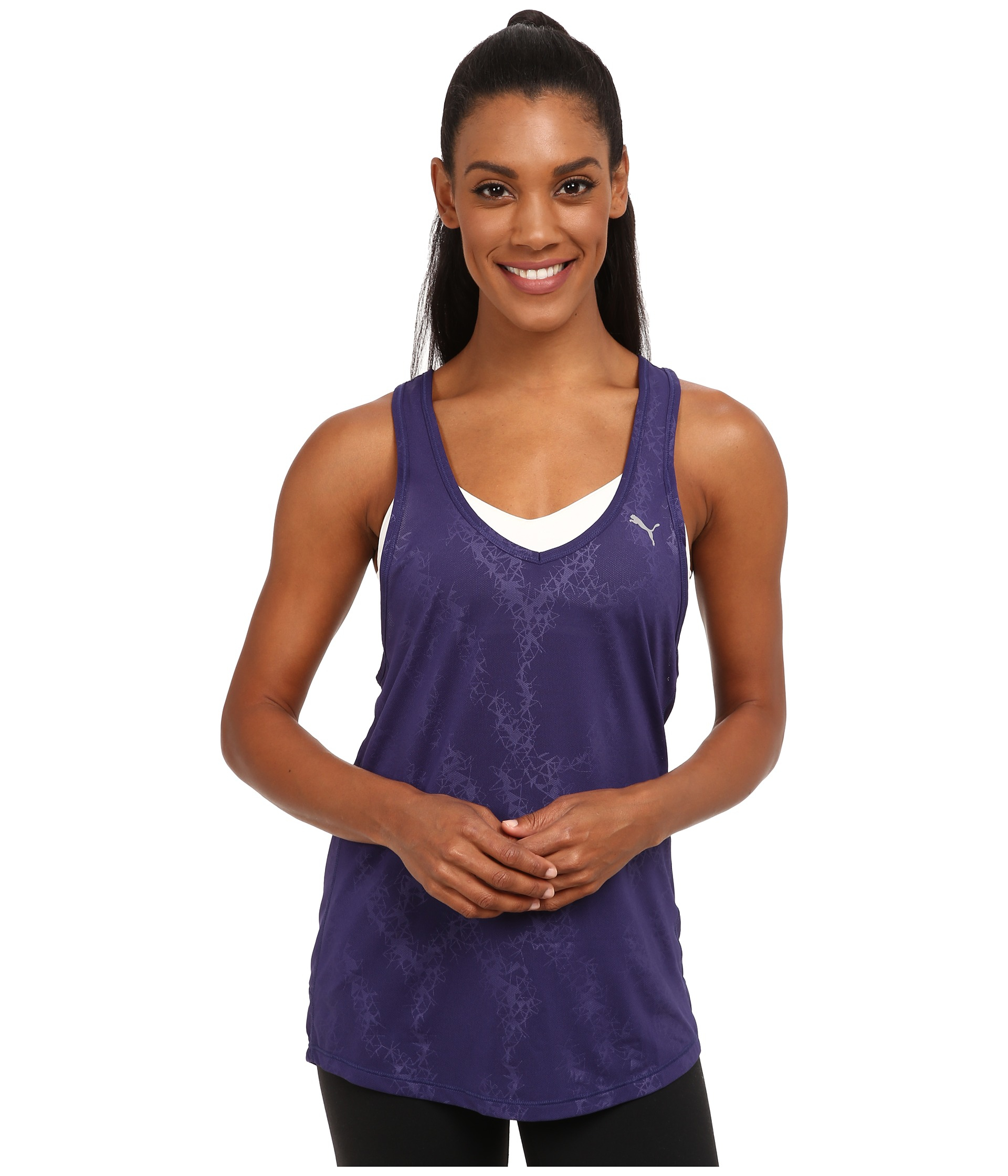 5f92056a0b3704 Lyst - PUMA Wt Mesh It Up Layer Tank Top in Blue
