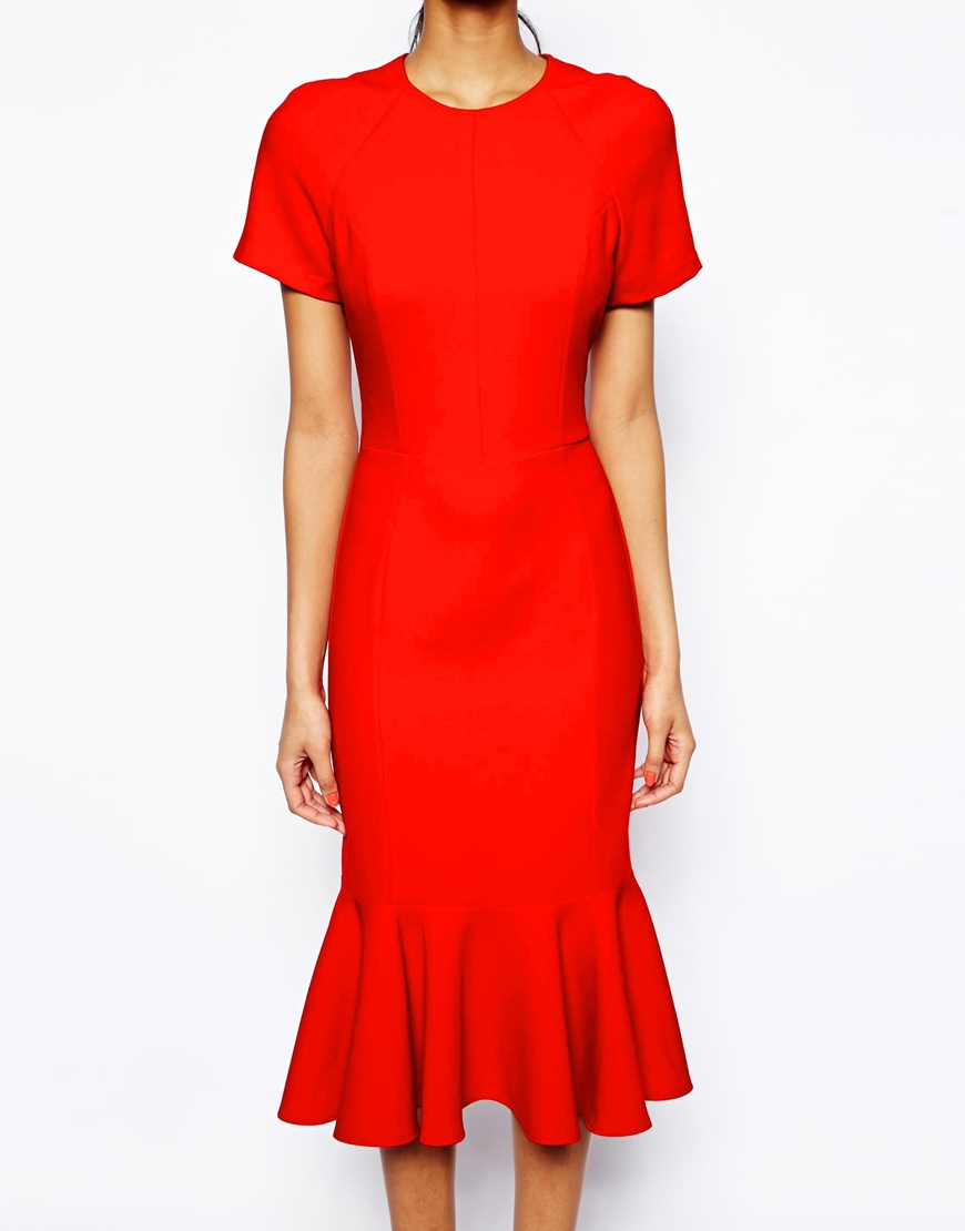 lyst asos midi dress with peplum hem in red. Black Bedroom Furniture Sets. Home Design Ideas