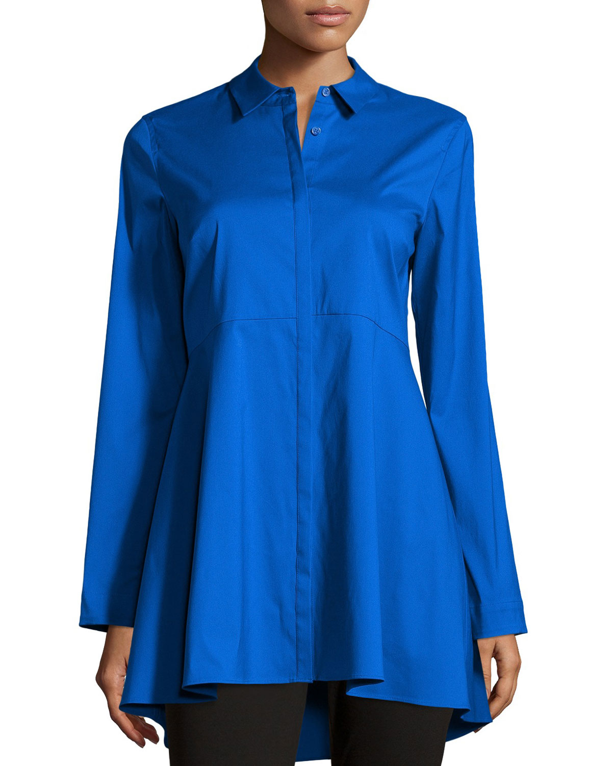 887a4bc3b00 Royal Blue Round Neck High Low Blouse