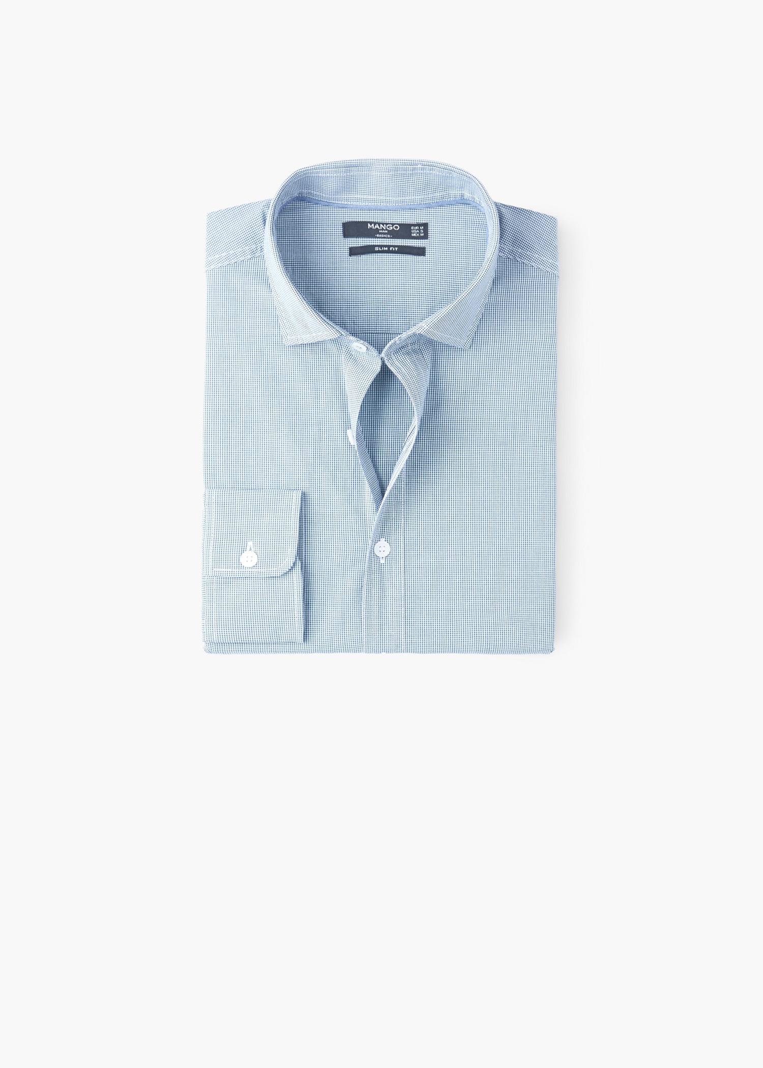 Mango Slim Fit Gingham Check Shirt In Green For Men Lyst